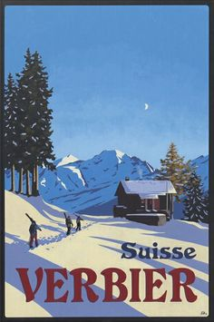 Another cool ski poster. #Verbier #ski Art by Verbier's Lucy Dunnett. www.dd-art.ch