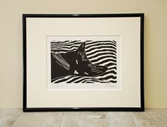 Black Cat Bedtime - Original Hand Pulled Linocut Print
