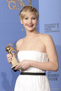 Jennifer Lawrence at 71st Annual Golden Globe Awards 12/01/2014 wins Best supporting actress