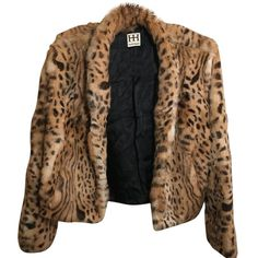 Pre-owned Haute Hippie Fur Coat (1.840 BRL) ❤ liked on Polyvore featuring outerwear, coats, animal print, leopard coat, long coat, leopard print coat, cropped coat and long fur coat