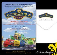 Nealon Design: CHUGGINGTON Birthday Invitation