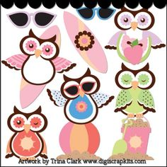 Summer Owls 1 - Non-Exclusive Clip Art