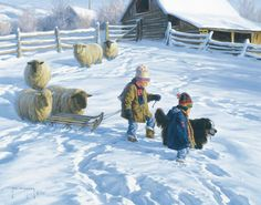 Robert Duncan The Sledding Party Native American Art, Western Art, and Wildlife Art. Fine art prints and posters framed, custom framing Puppy Pictures, Art Pictures, Photos, Winter Painting, Winter Art, Robert Duncan Art, Border Collie Art, Sheep Art, Cover Books