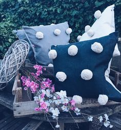 Do these gorgeous Pom Pom cushions remind you of Easter bunnies tails too ?! Available in three colours ready for the fabulous Spring Market next week :) x