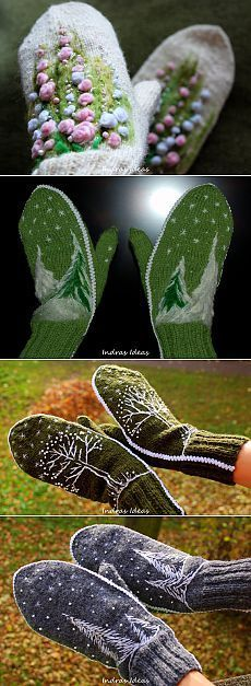 Bilderesultat for Indras ideas Knitted Mittens Pattern, Knit Mittens, Knitted Gloves, Knitting Socks, Knitting Patterns, Crochet Scarves, Knit Crochet, Beaded Banners, Felted Slippers