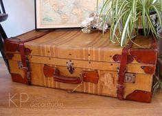 e72c71068 Gran maleta antigua para decoración del hogar ** Large vintage suitcase