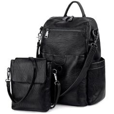 Buy Women Backpack Purse PU Washed Leather Ladies Rucksack Detachable Crossbody Shoulder Bag - Black - and More Fashion Bags at Affordable Prices. Sling Backpack Purse, Rucksack Backpack, Satchel Purse, Leather Satchel, Leather Backpack, Crossbody Bag, Pu Leather, Black Crossbody, Crossbody Shoulder Bag