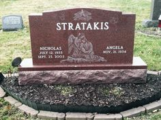 Red Granite Upright Headstone with Diamond Etchings