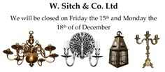 We will be #closed on #Friday the 15th and #Monday the 18th of #December  #lighting #soho #antique #vintage #architecture #Interiors