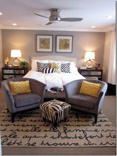 grey yellow bedroom