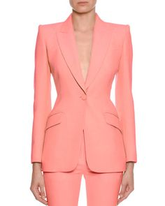 Alexander McQueen Fitted Flap-Pocket Wool-Silk Blazer and Matching Items Suit Fashion, Girl Fashion, Fashion Dresses, Fashion Quiz, Modest Fashion, Fashion Tips, Office Outfits Women, Professional Wardrobe, Fashion Portfolio