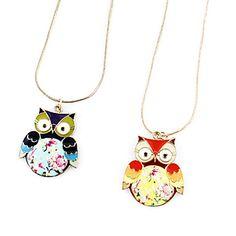 Flerfarget Alloy Owl anheng halskjede (assortert farge) – NOK kr. 17