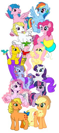 I do love this bit of art. It compares the new (G4) ponies to their original (G1) predecessors.