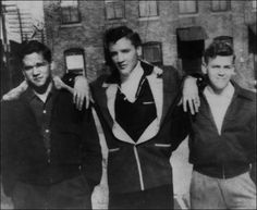 Elvis and his friends Buzzy and Farley hang out at Lauderdale Courts in 1954. Elvis and his family lived  there from 1949-1953.