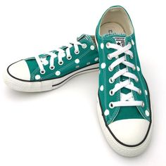 3001cc7eeb4 TEAL Green Converse with Hand Painted White Polka Dots - Women s Size 10 - Men s  Size 8
