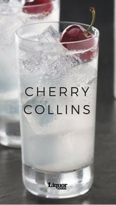 The classic Collins gets a black-cherry makeover you& be sure to love! Cherry Vodka Drinks, Vodka Cocktails, Cocktail Drinks, Cocktail Recipes, Alcoholic Drinks, Tequila Drinks, Vanilla Vodka Drinks, Vodka Mixed Drinks, Cherry Drink