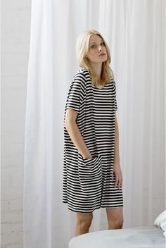 Style - Minimal + Classic : loose stripe dress with pockets. Camber dress patt with striped linen?