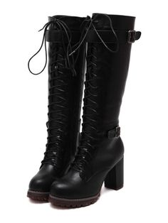 Shop Black High Block Heel Lace Up High Boots online. SheIn offers Black  High Block Heel Lace Up High Boots & more to fit your fashionable needs.