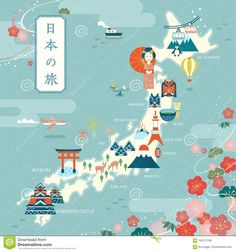 Travel infographic Photo about Elegant japan travel map flat design landmark and traditional symbol with cherry blossom frame Japan travel in Japanese on the top left. Illustration of festival culture design 100771736 Japan Illustration, Travel Illustration, Travel Maps, Travel Posters, Map Posters, Japanese Icon, Japan Architecture, Graffiti, Map Design