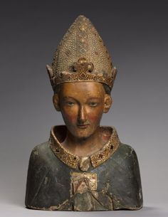 Bust Reliquary of St. Louis, Bishop of Toulouse, late 1300s wood (walnut) with polychromy, gesso and gilding, Overall - h:62.00 w:38.20 d:18.80 cm