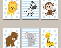 JUNGLE Nursery Wall Art Jungle Animals Art ELEPHANT Giraffe Zebra Baby Boy Nursery Art Animals Baby Blue Nursery Set of 6 Prints Or Canvas