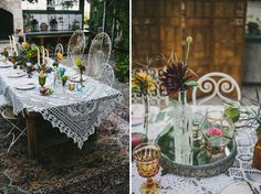 The size of table, crochet table cloth matched with mismatching chairs