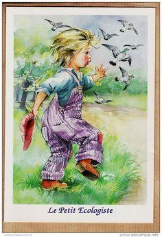 Illustrateurs & photographes - iLL183 Illustration Style POULBOT Série ENFANTS Le PETIT ECOLOGISTE 1980s ABEILLE-CARTES LYNA FS 2333/4