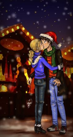 Percy and Annabeth from Percy Jackson and the Olympians Percy Jackson Annabeth Chase, Percy Jackson Ships, Percy And Annabeth, Percy Jackson Fandom, Tio Rick, Uncle Rick, Dibujos Percy Jackson, Last Christmas, Greek Christmas