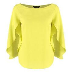 Dorothy Perkins Blouse lime green ❤ liked on Polyvore featuring tops, blouses, yellow blouse, tall tops, crew neck blouse, crew top and crew neck tops
