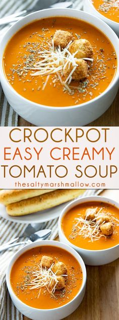 Slow Cooker Creamy Tomato Soup is a simple homemade tomato soup that is easy to make right in your crockpot! The absolute best tomato soup recipe bursting with rich, creamy, tomato flavor! #souprecipes #soup #easysouprecipes #tomatosoup #creamytomatosoup #crockpotsouprecipes #thesaltymarshmallow