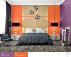 Sypialnia wbarwach fioletu ipomarańczy