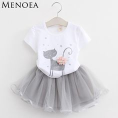 Menoea 2017 Verão New Baby Meninas Define Vestuário Moda Estilo Gatinho Dos Desenhos Animados Impresso T-Shirt + Vestido Véu Líquido 2 Pcs Roupas Das Meninas