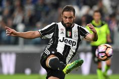 Gonzalo Higuain of Juventus FC kicks the ball during the Serie A match between Juventus FC and Cagliari Calcio at Juventus Stadium on September 21, 2016 in Turin, Italy.