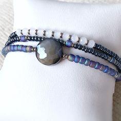 Stack Bracelets, Stackable Bracelets, Stretch Bracelets, Beaded Rings, Beaded Bracelets, Midnight Sky, Bracelet Set, Blue Tones, Jewelry Making Beads