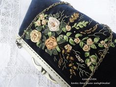 Embroidery Purse, Ribbon Embroidery, Ribbon Work, Dyi, Purses, Bags, Needlepoint, Tape, Handbags