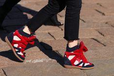 Milan Fashion Week Streetstyle: Isabel Marant Wedge Sneakers