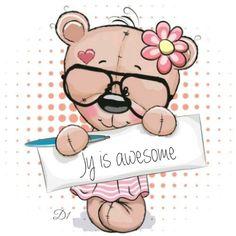 Cute pink Teddy Bear girl with plaque with inscription thanks Cute Cartoon Images, Cute Cartoon Drawings, Cute Cartoon Girl, Bear Cartoon, Blue Nose Friends, Cute Friends, Teddy Bear Quotes, Bear Girl, Tatty Teddy
