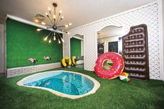 Las Vegas Weekly magazine did a story on my vintage Las Vegas home- yeeeeeeee! I'm so excited! Every home should have a tiny indoor pool with a bear as a lifeguard. 80s Interior Design, Interior And Exterior, Exterior Design, Basement Remodel Diy, Basement Remodeling, Basement Stairs, Themed Hotel Rooms, Las Vegas Homes, Green Carpet