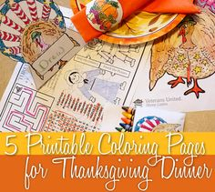 Download these pages that feature a patriotic turkey and include an activity placemat, placeholder, coloring page, napkin rings and crayon envelopes for kids to color. Scroll to the bottom of the article to find the links.