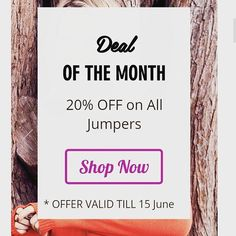 Now sale is on Jumpers. Choose your fav style and take 20%off. Hurry! offer valid only till 15 June. Free shipping above $50 only.  Happy Shopping :-)  #sale #onlinesale #jumper #wintersale 15 June, 20 Off, Online Sales, Winter Sale, Jumpers, Happy Shopping, Shop Now, Free Shipping, Instagram Posts