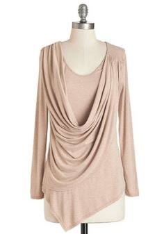 Draped in Delight Long-Sleeved Top in Sand - Tan, Solid, Casual, Long Sleeve, Variation, Brown, Long Sleeve, Cowl, Knit