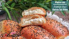 Pains moelleux sans pétrissage au fromage frais farcis au féta, Mini Pains, Bagel, Sandwiches, Flat Bread, Food, Minis, Brick, Oriental, Recipes