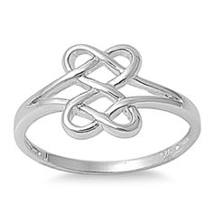 JORA Blue Opal Infinity Knot Ring 14K White Gold Plated Adjustable Promise Ring
