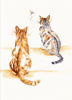 Two cats watching a dragonfly. Watercolour
