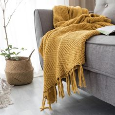 Mustard Yellow Knit Blanket Knit from the finest materials, the blanket is an elegant neutral with beautiful color and design that is sure to be an amazing accent to any bed or living space. Yellow Throw Blanket, Sofa Blanket, Yellow Throws, Mustard Yellow Bedrooms, Mustard Yellow Decor, Yellow Bedding, Mustard Bedding, Yellow Home Decor, Yellow Accents