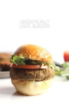 Ginger Peanut Lentil Burgers