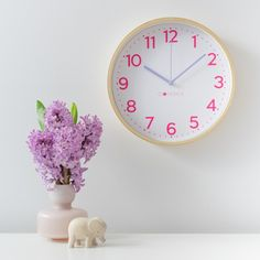 This clock has the beautiful combination of bright pink numbers and gorgeous soft lilac hands. It's a perfect clock for a girl that loves a pretty touch of pink and purple in her room. Lilac Walls, Telling Time, Simple Nails, Bright Pink, 3 Piece, Color Pop, Dots, Neon, Colours