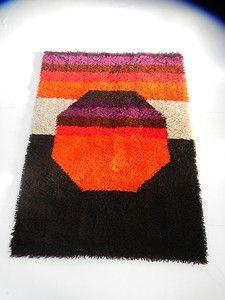 Panton Eames Era Mid Century 60s Mod Rya Rug Shag Op Art Vintage Wool Carpet | eBay