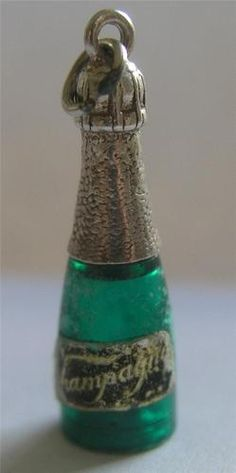 RARE Vintage Sterling Silver Plastic French 'Bubbly' Champagne Bottle Charm   eBay