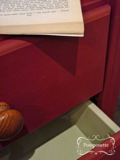 Pine Bookcase (drawer detail) @anniesloanhome Burgundy #chalkpaint with Country Grey interior | by Pomponette | SOLD